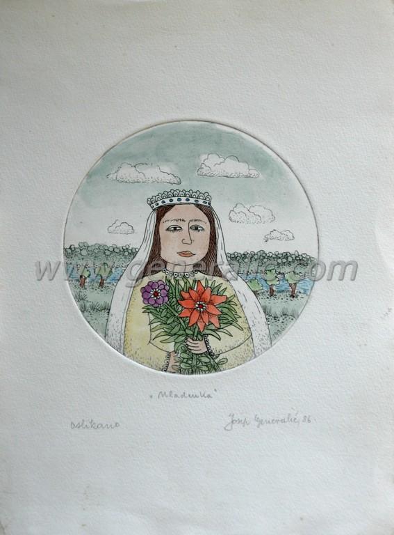 Josip Generalic, JG-E06-01(2), A bride, water-coloured etching, 27x20 cm Ø 12,5 cm, 1986 - 400 eur