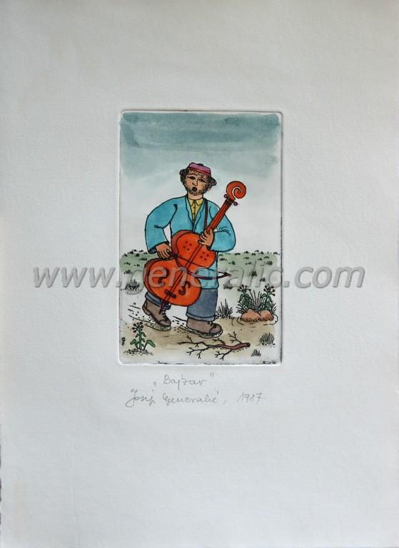 Josip Generalic, JG-F01-01(4), Bass player,  water-coloured etching, 27x20 cm 12x8 cm, 1987 - 200 eur