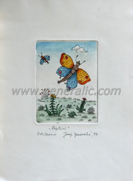 Josip Generalic, JG-F04-01 (Last one), Butterflies, water-coloured etching, 26x19 cm 12x9 cm, 1987 - 300 eur