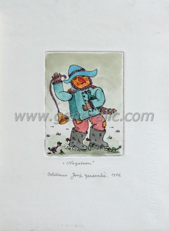 Josip Generalic, JG-F08-01(5), Napoleon (carneval), water-coloured etching, 27x20 cm 12x9 cm, 1986 - 200 eur