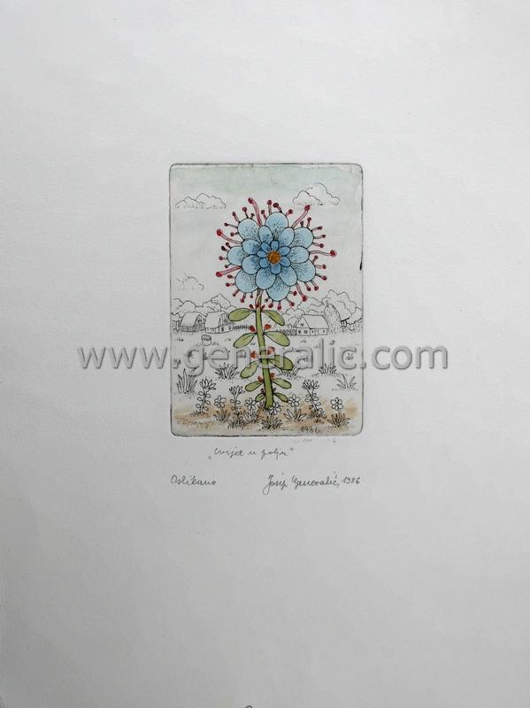 Josip Generalic, JG-G01-07(5), Flower in the field, water-coloured etching, 27x20 cm 10x7 cm, 1986 - 200 eur