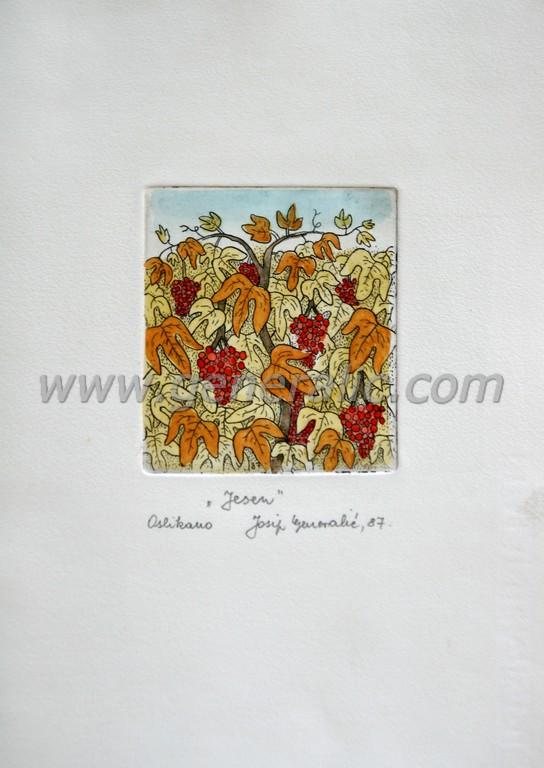 Josip Generalic, JG-G02-01 (Last one), Autumn, water-coloured etching, 27x20 cm 9x8 cm, 1987 - 200 eur