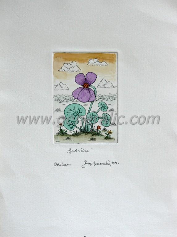 Josip Generalic, JG-G04-02(5), Violet, water-coloured etching, 27x19 cm 10x7 cm, 1986  - 200 eur