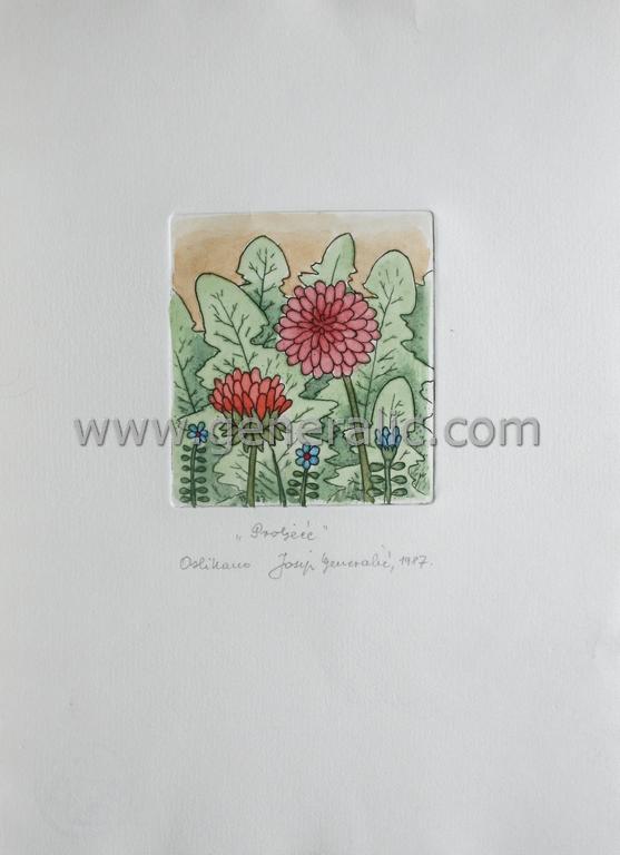 Josip Generalic, JG-G05-02 (Last one), Spring, water-coloured etching, 27x20 cm 9x8 cm, 1987 - 200 eur