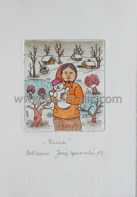 Josip Generalic, JG-G08-02(3), Winter, water-coloured etching, 20x13 cm 9x8 cm, 1987 - 200 eur