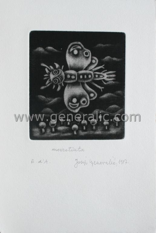 Josip Generalic, JG-I01-01(6), Butterfly, mezzotinta, 20x13 cm 9x8 cm, 1987 - 100 eur