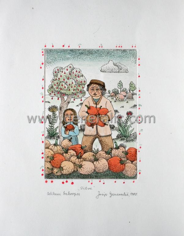 Josip Generalic, JG-D03-01 (Last one), Pumpkins, water-coloured etching, 33x26 cm 18x13 cm, 1985 - 500 eur