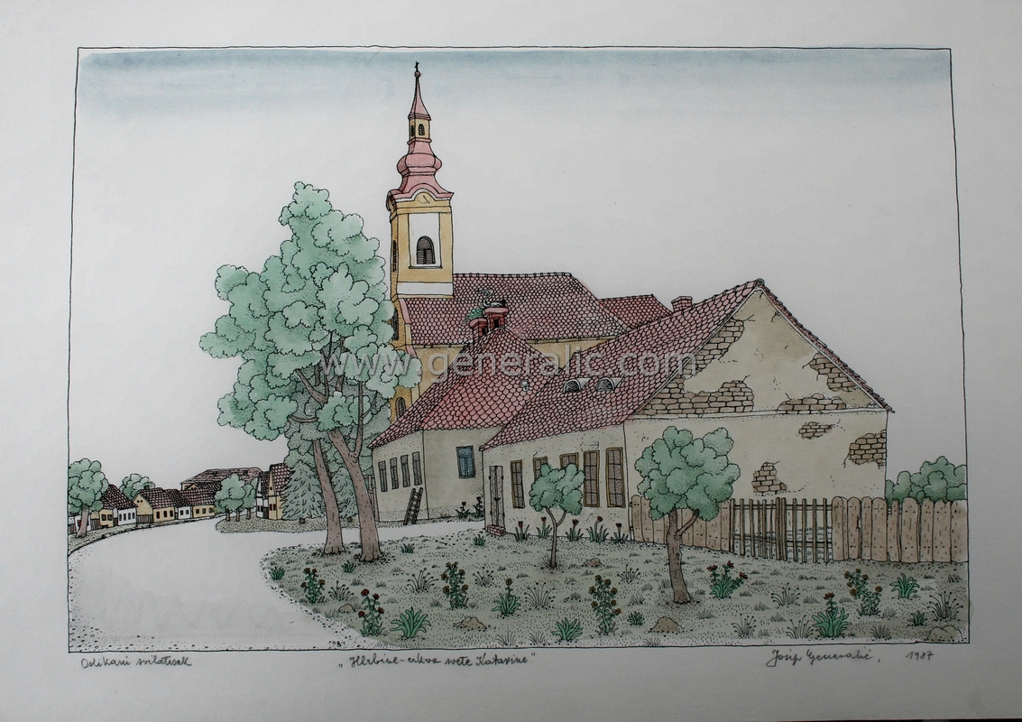 Josip Generalic, JG-L10-02(16), Hlebine - Church of St Catherine, water-coloured silkscreen, 35x50 cm 28x42 cm, 1987 - 400 eur
