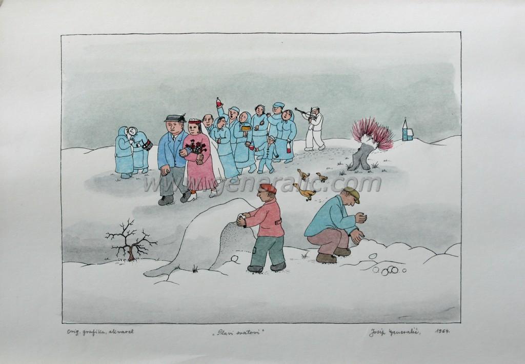 Josip Generalic, JG-L43-01(8), Blue wedding, water-coloured silkscreen, 35x50 cm 27x37 cm, 1964 - 400 eur