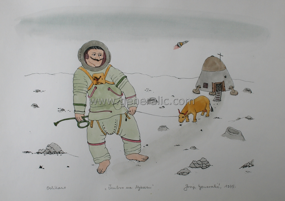 Josip Generalic, JG-M03-03(14), Imbro colonizing the Moon, water-coloured silkscreen, 30x42 cm 30x42 cm, 1975 - 300 eur