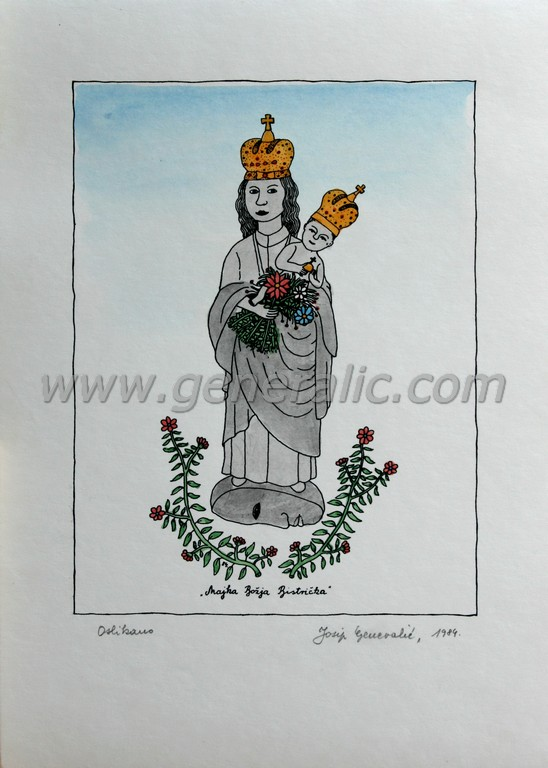 Josip Generalic, JG-M05-01(4), Mother of God from Bistrica, water-coloured silkscreen, 35x25 cm 24x18 cm, 1984 - 300 eur