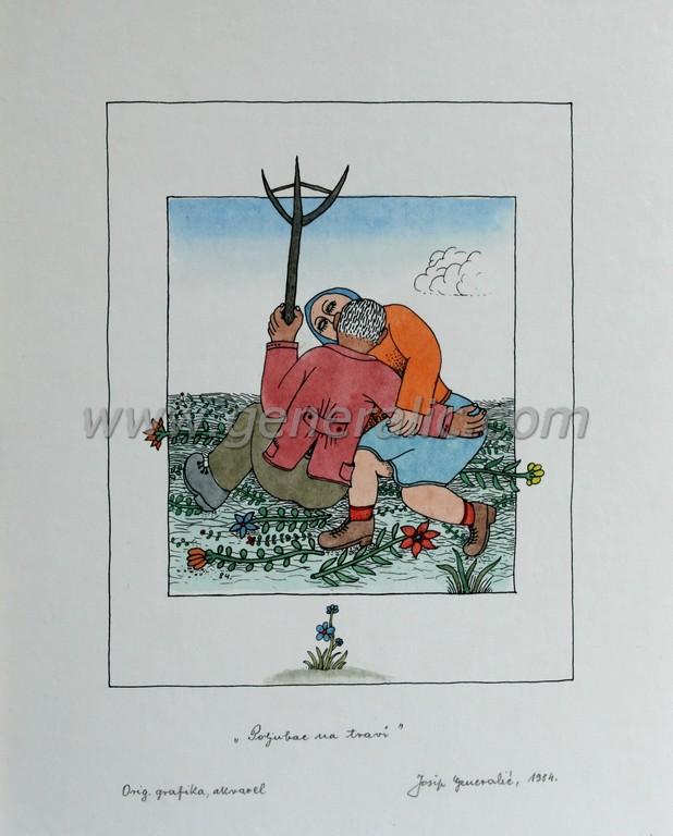 Josip Generalic, JG-M09-01(6), Kiss on the grass, water-coloured silkscreen, 37x30 cm 25x20 cm, 1984 - 200 eur