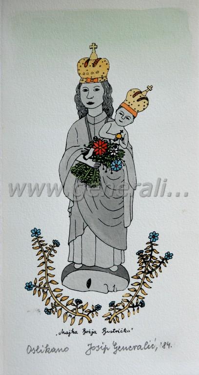 Josip Generalic, JG-N04-01(3), Mother of God from Bistrica, water-coloured silkscreen, 25x13 cm, 1984 - 200 eur