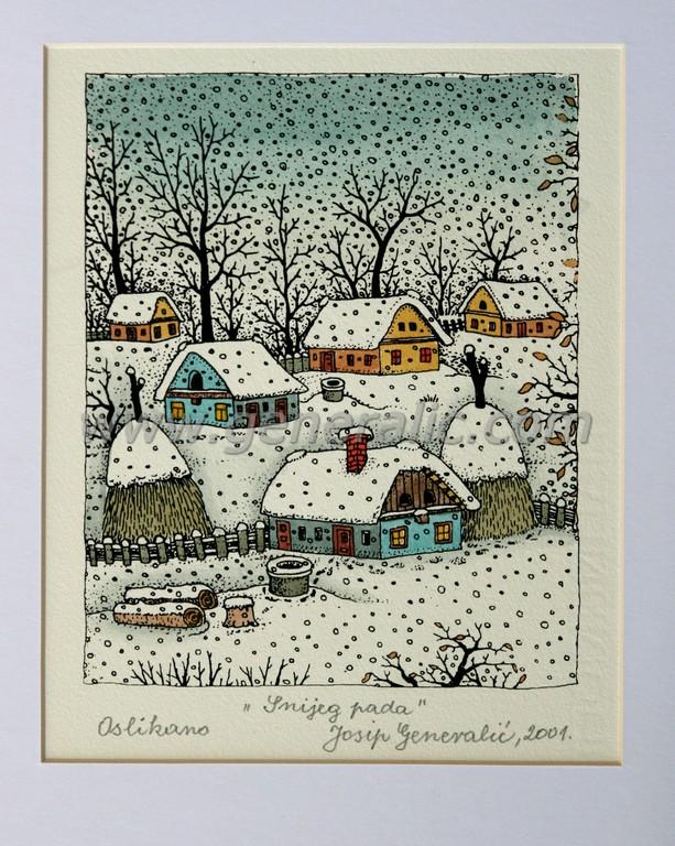 Josip Generalic, JG-N11-01 (Last one), Snow is falling, water-coloured silkscreen, 32x28 cm 17x14 cm (with mat), 2001 - 300 eur