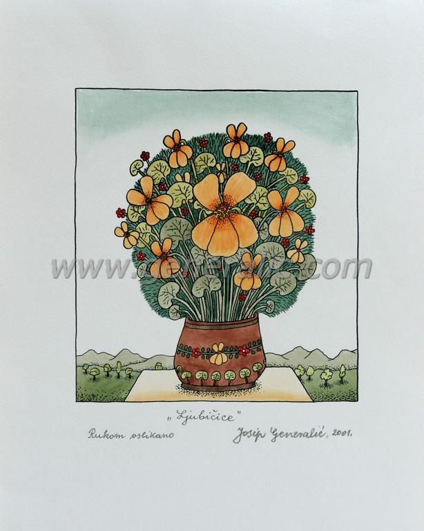 Josip Generalic, JG-N12-06(8), The violets, water-coloured silkscreen, 25x23 cm 19x17 cm, 2001 - 300 eur