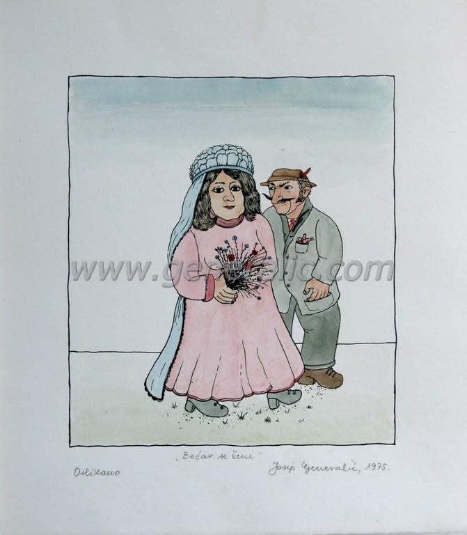 Josip Generalic, JG-O01-01(2), Happy lad getting married, water-coloured silkscreen, 28x25 cm 19x17 cm, 1975 - 200 eur