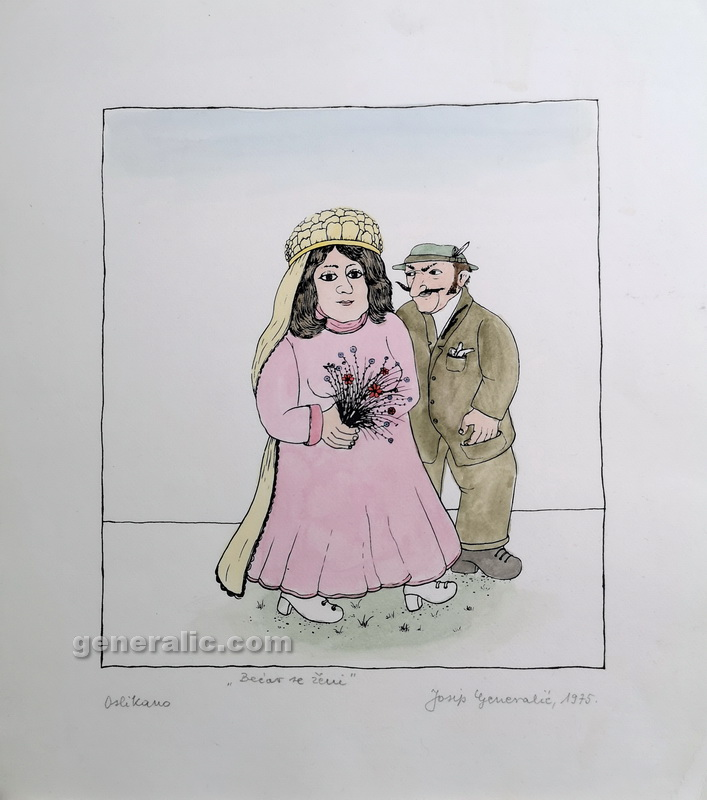Josip Generalic, JG-O01-02 (Last one), Happy lad getting married, water-coloured silkscreen, 28x25 cm 19x17 cm, 1975 =200 eur