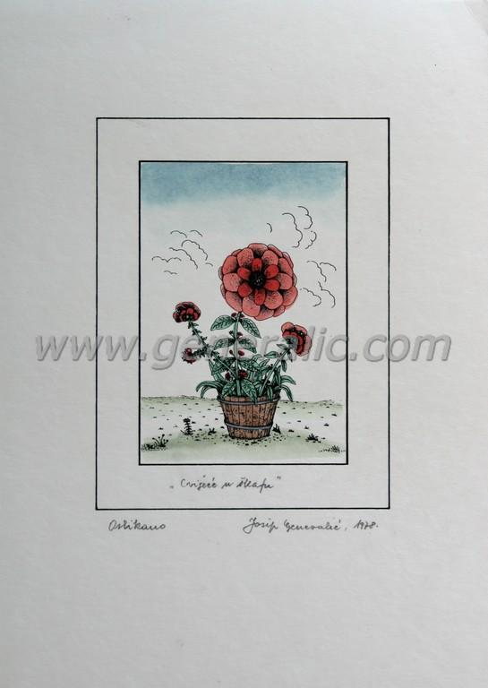 Josip Generalic, JG-O15-01(5), Flowers in a bucket, water-coloured silkscreen, 35x25 cm 15x10 cm, 1978 - 300 eur