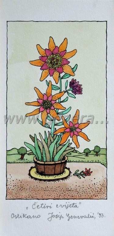 Josip Generalic, JG-O19-01 (Last one), Four flowers, water-coloured silkscreen, 23x12 cm 18x10 cm, 1993 - 200 eur