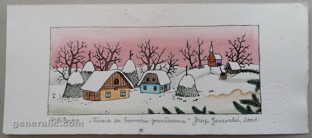 Josip Generalic, JG-O20-02(2), Winter with pineapple branches, water-coloured silkscreen, 11x27 cm 8x19 cm, 2001 - 200 eur