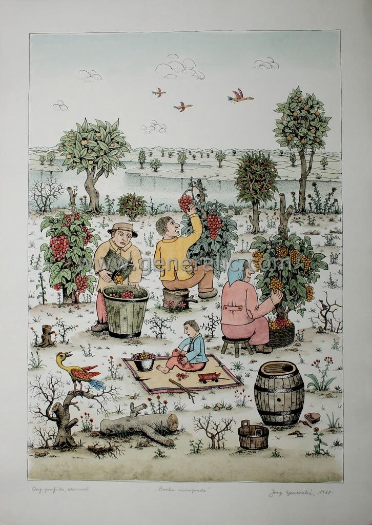 Josip Generalic, JG-J02-02 (Last one), Grape harvest, water-coloured silkscreen, 71x50 cm 42x60 cm, 1968 - 800 eur