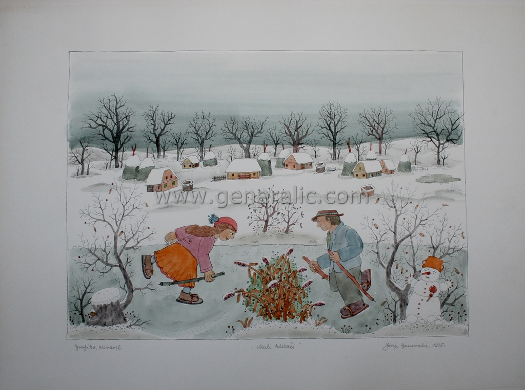 Josip Generalic, JG-K05-02(41), Little skaters with snowman, water-coloured silkscreen, 44x60 cm 36x45 cm, 1985 - 400 eur