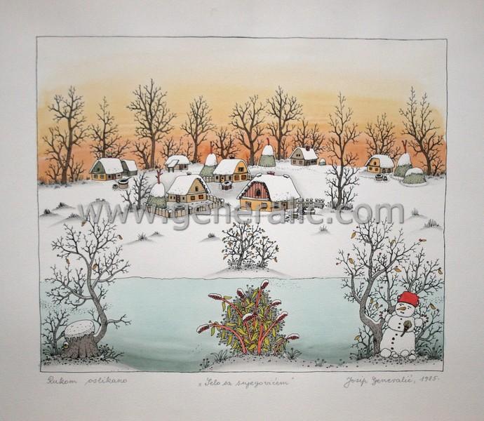 Josip Generalic, JG-K08-01(2), Village with a snowman, water-coloured silkscreen, 45x52 cm 32x39 cm, 1985 - 600 eur