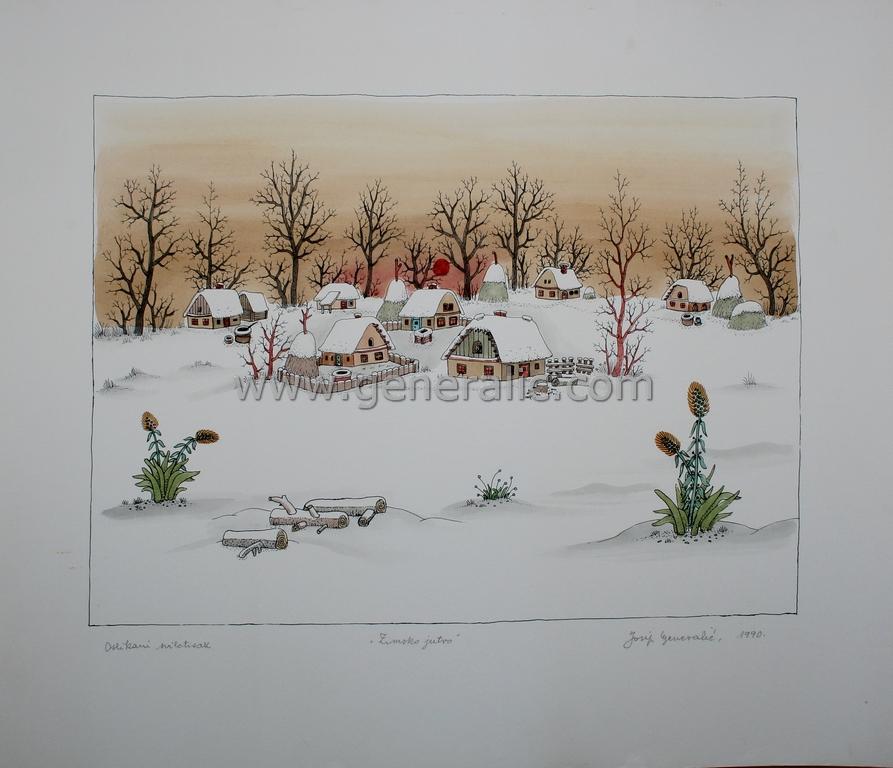 Josip Generalic, JG-K10-03(2), Winter morning, water-coloured silkscreen, 49,5x58 cm 33x45 cm,1990 - 600 eur