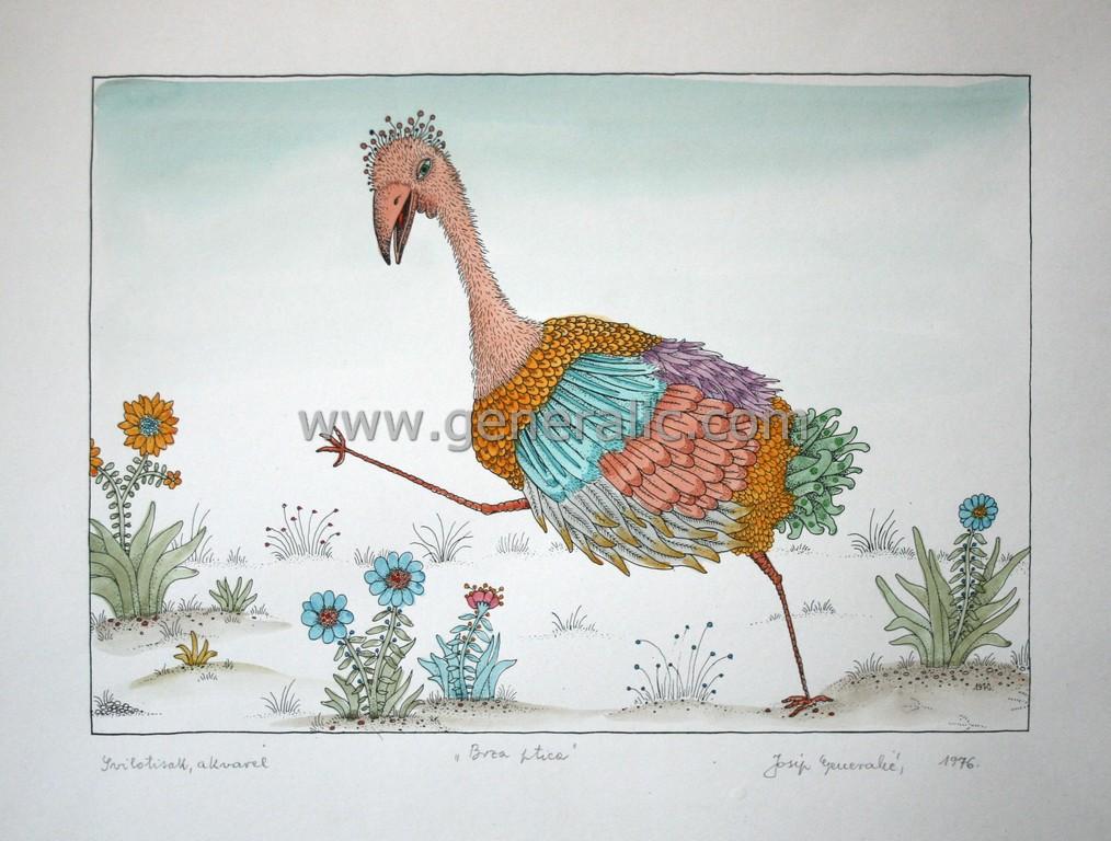 Josip Generalic, JG-L03-01(12), Fast bird, water-coloured silkscreen, 35x49 cm 26x37 cm, 1976 - 400 eur