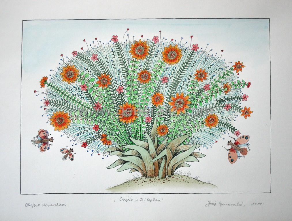 Josip Generalic, JG-L04-01(15), Flowers with three butterflies, water-coloured silkscreen, 35x49 cm 26x37 cm, 1988 - 400 eur