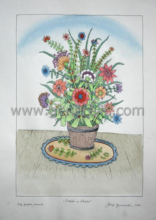 Josip Generalic, JG-L05-01(4), Flowers in a bucket, water-coloured silkscreen, 49x35 cm 39x28 cm, 1978 - 400 eur