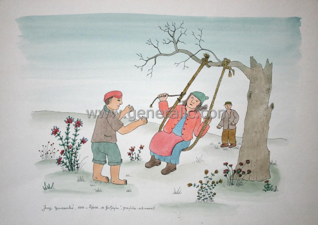 Josip Generalic, JG-L07-01(11), Children are swinging, water-coloured silkscreen, 34x48 cm 34x48 cm, 1980 - 300 eur