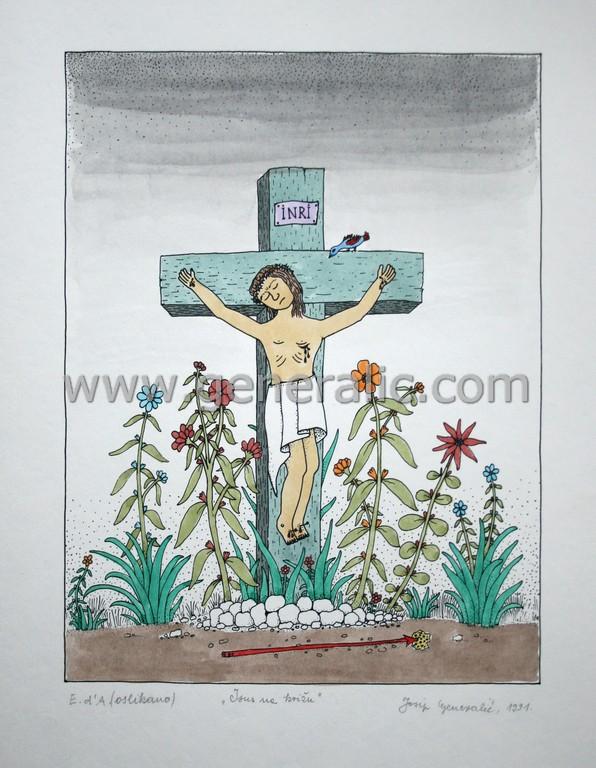 Josip Generalic, JG-L14-01(5), Jesus on a cross, water-coloured silkscreen, 52x38 cm 35x26 cm, 1991 - 200 eur