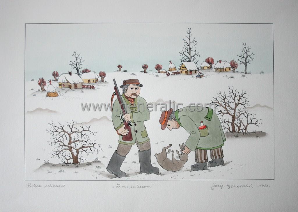 Josip Generalic, JG-L19-01(8), Hunters with a rabbit, water-coloured silkscreen, 38x53 cm 27x43 cm, 1980 - 300 eur