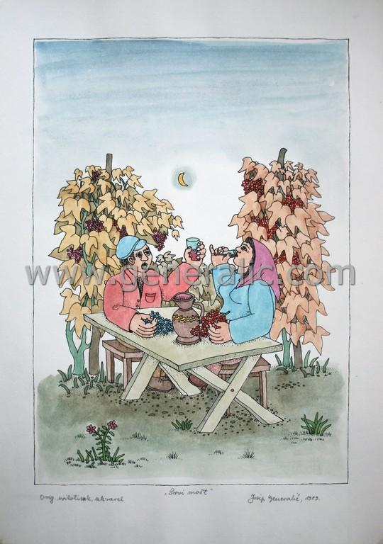 Josip Generalic, JG-L31-01 (Last one), First wine, water-coloured silkscreen, 50x35 cm 40x28 cm, 1993 - 200 eur