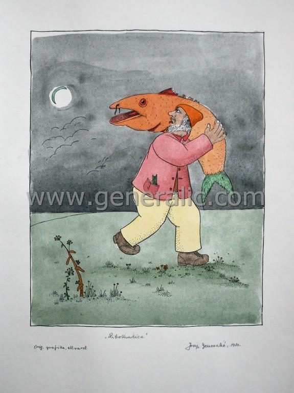 Josip Generalic, JG-L36-01(7), Poaching, water-coloured silkscreen, 50x35 cm 33x26 cm, 1980 - 400 eur