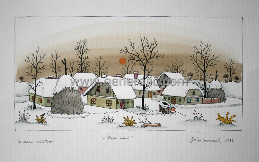 Josip Generalic, JG-L37-01 (Last one), Village in winter, water-coloured graphic, 34x49 cm 20x40 cm, 1982 - 600 eur