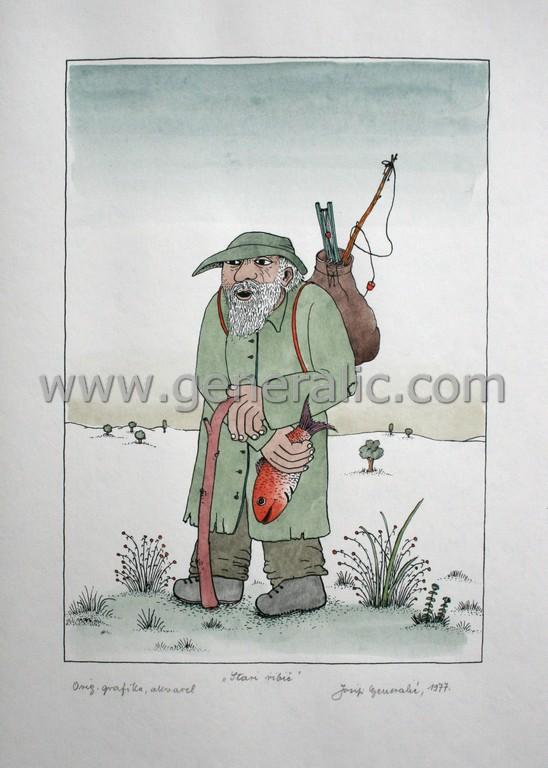 Josip Generalic, JG-L41-01(5), Old fisherman, water-coloured silkscreen, 50x35 cm 37x26 cm, 1977 - 400 eur