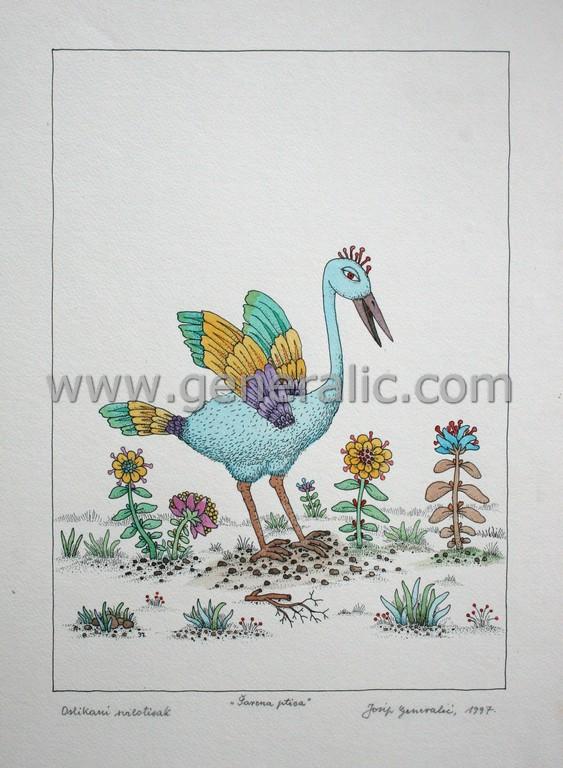 Josip Generalic, JG-L51-01(3), Colorful bird, water-coloured silkscreen, 50x35 cm 38x27 cm, 1997 - 400 eur