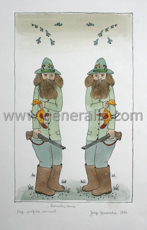 Josip Generalic, JG-M04-01(4), Twins hunters, water-coloured silkscreen, 40x29 cm 29x18 cm, 1980 - 300 eur
