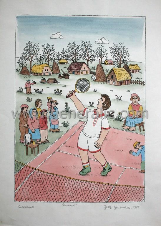 Josip Generalic, JG-M06-01(2), Tennis player, water-coloured silkscreen, 49x35 cm 39x27 cm, 1985 - 150 eur