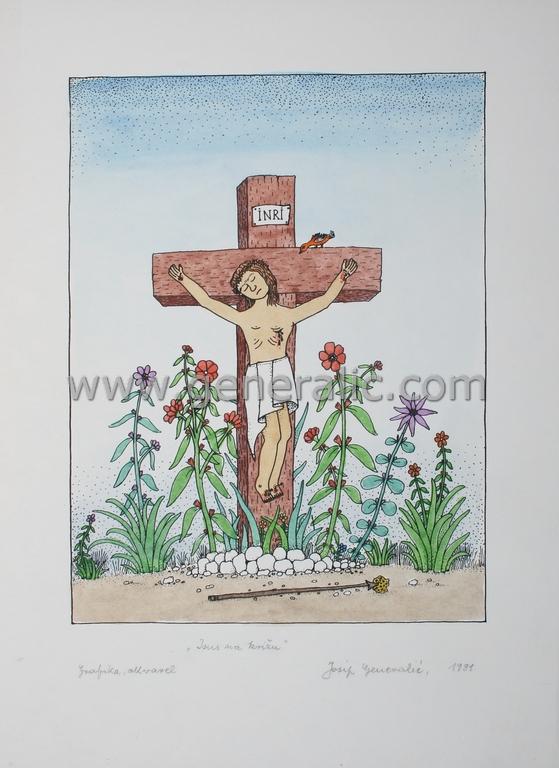 Josip Generalic, JG-N02-01 (Last one), Jesus on the cross, water-coloured silkscreen, 35x25 cm 24x18 cm, 1991 - 300 eur