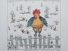 Josip Generalic JG-N01-02 Hlebinski pijetao Rooster of Hlebine water-coloured serigraphy 25x24 cm 18x18 cm 1987 150,00 EUR