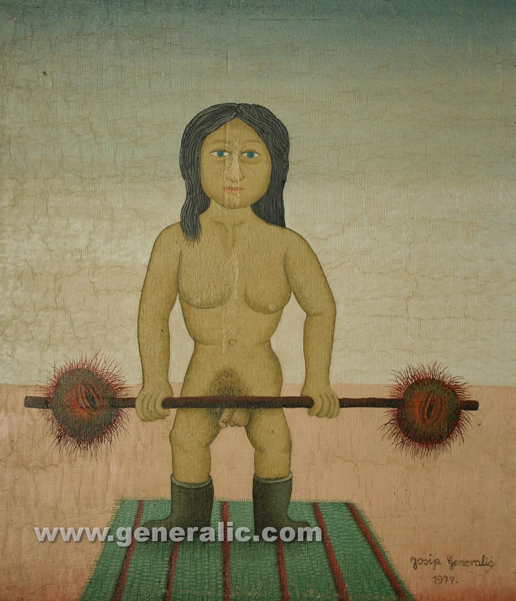 Josip Generalic, 1977, Mutant body builder, oil on canvas, 36x31 cm