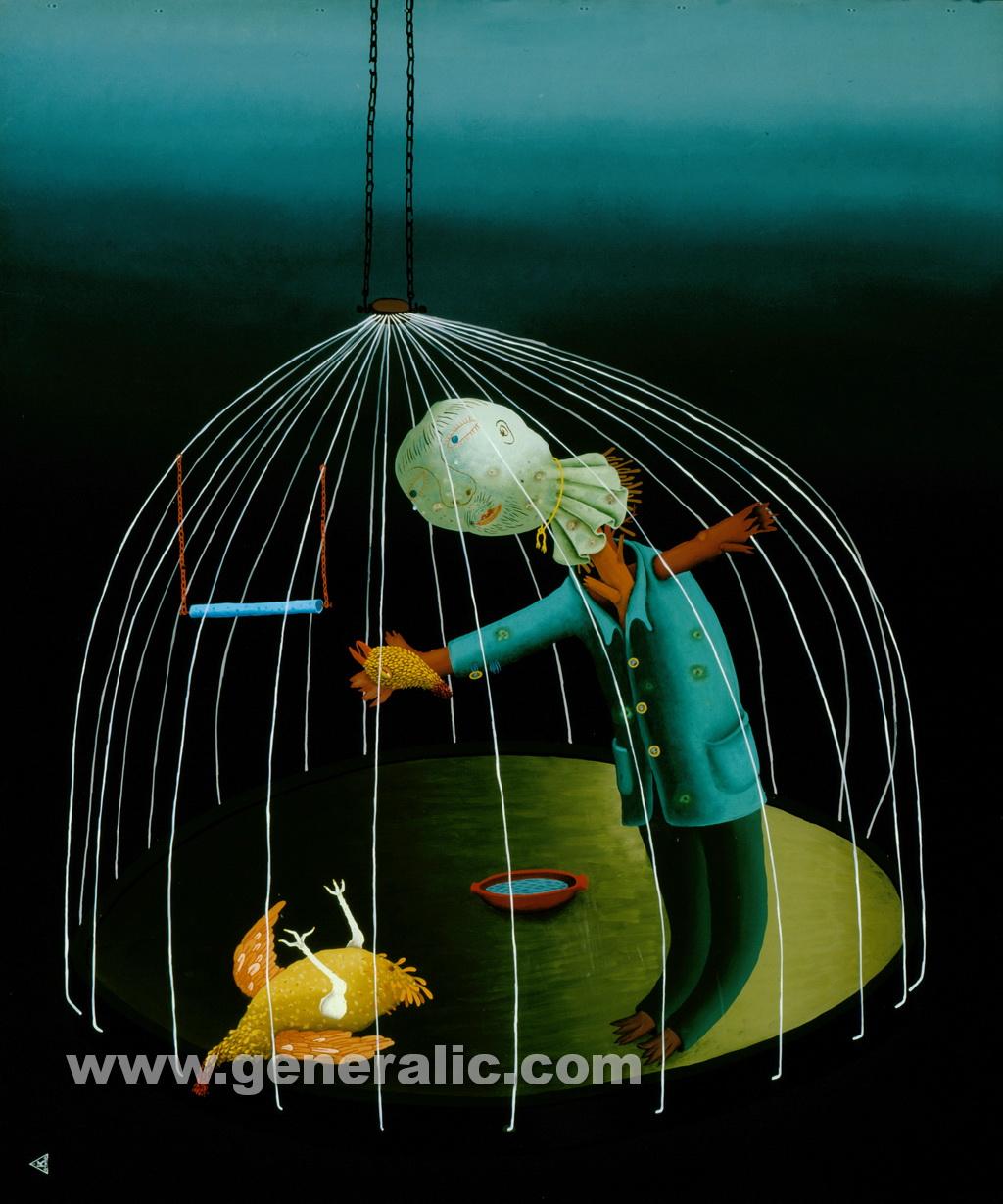 Josip Generalic, 1978, Tears over a dead bird, oil on glass, 120x100 cm