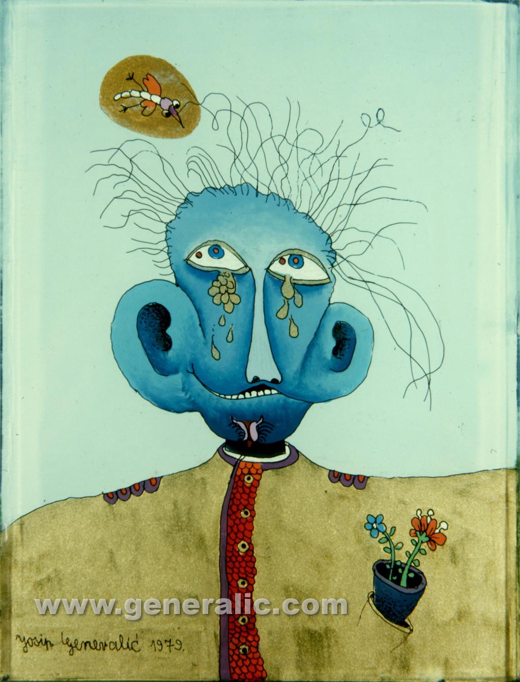 Josip Generalic, 1979, Blue head, oil on glass