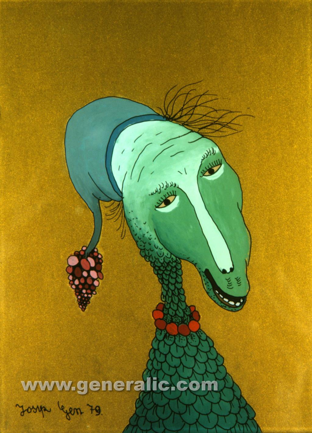 Josip Generalic, 1979, Green head, oil on glass