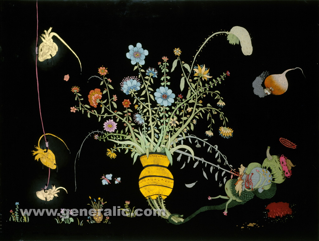 Josip Generalic, 1980, Remembering REM dream, oil on glass
