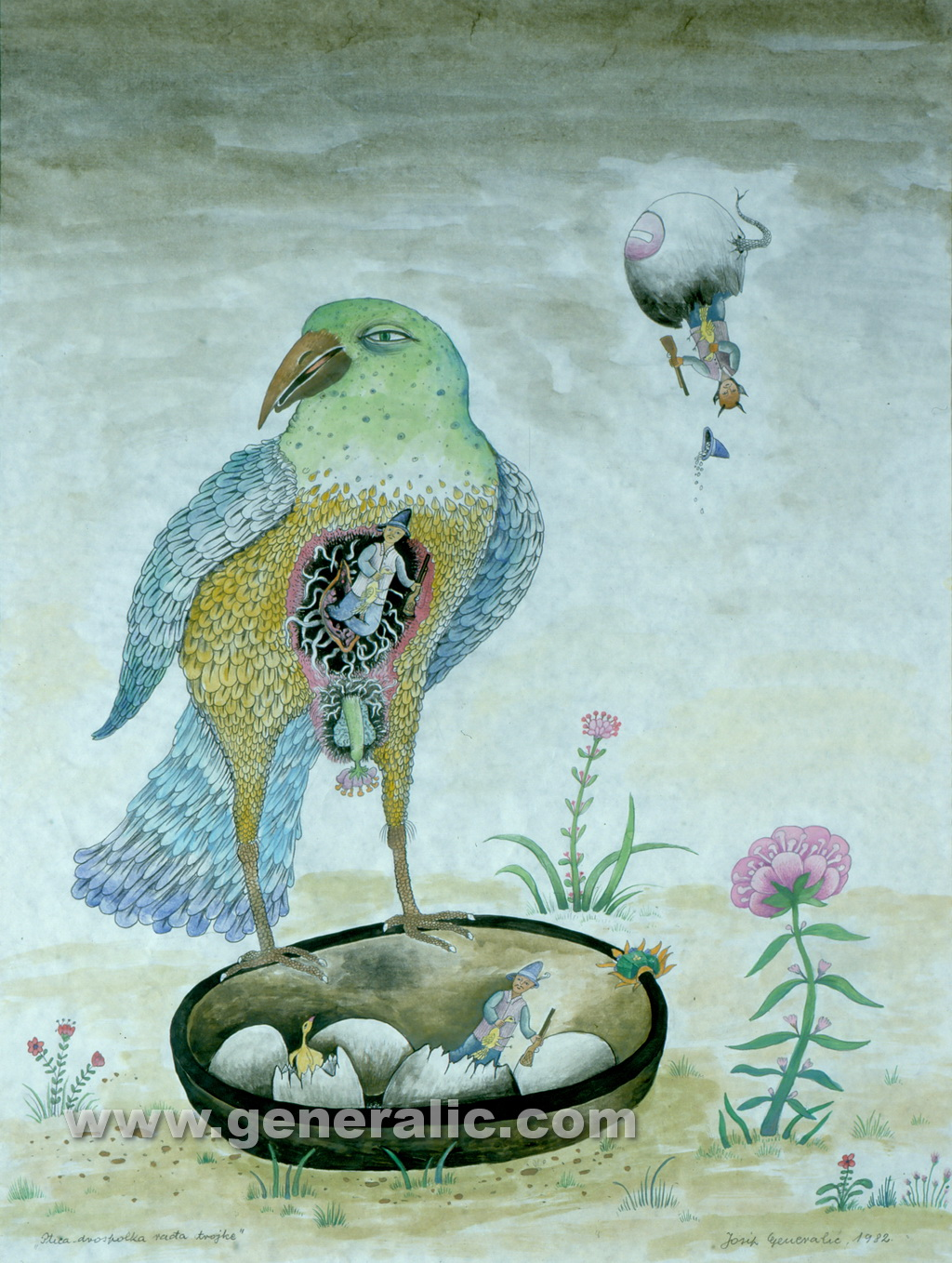 Josip Generalic, 1982, Hermaphrodite bird, watercolour