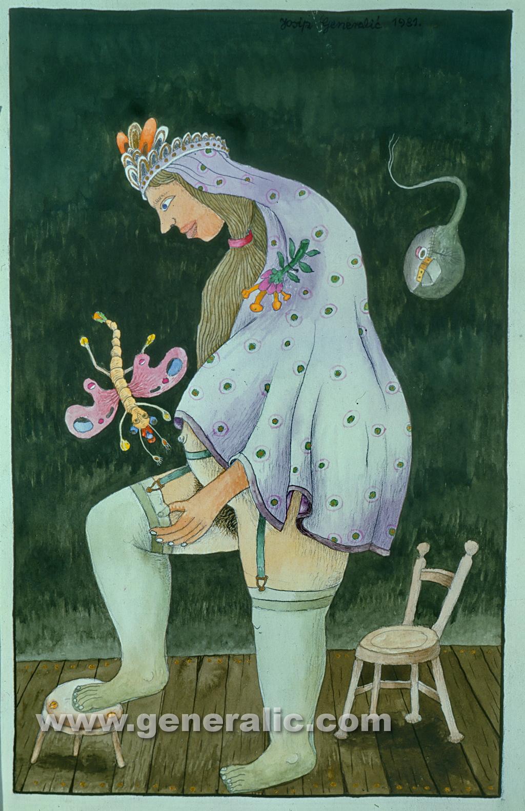 Josip Generalic, 1983, A bride, watercolour